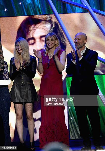 Musicians Courtney Love and Michael Stipe honor Nirvana onstage at the 29th Annual Rock And Roll Hall Of Fame Induction Ceremony at Barclays Center...