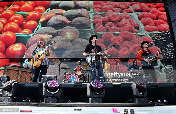 Musicians Critter Fuqua Ketch Secor and Chance McCoy from Old Crow Medicine Show performs at FirstMerit Bank Pavilion at Northerly Island during...