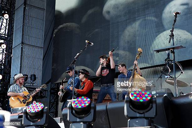 Musicians Critter Fuqua Kevin Hayes Chance McCoy Ketch Secor and Morgan Jahnig from Old Crow Medicine Show performs at FirstMerit Bank Pavilion at...