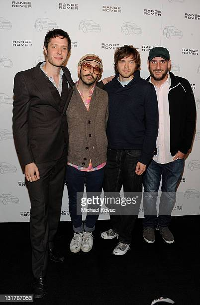 Musicians Damian Kulash Tim Nordwind Andy Ross Dan Konopka of OK GO arrives at the Range Rover Evoque VIP launch party at Cecconi's Restaurant on...