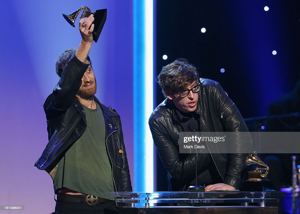 Musicians Dan Auerbach and Patrick Carney of The Black Keys accept an award onstage during the 55th Annual GRAMMY Awards Pre-Telecast at Nokia Theatre L.A. Live on February 10, 2013 in Los Angeles, California.