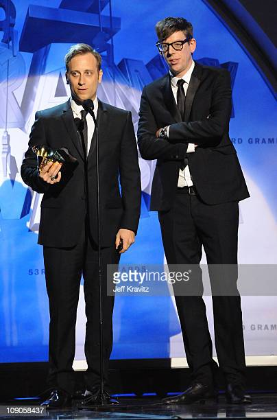 Musicians Dan Auerbach and Patrick Carney of the Black Keys onstage during The 53rd Annual GRAMMY Awards held at Staples Center on February 13 2011...