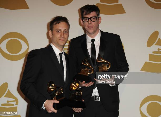 Musicians Dan Auerbach and Patrick Carney of The Black Keys pose in the press room at The 53rd Annual GRAMMY Awards held at Staples Center on...