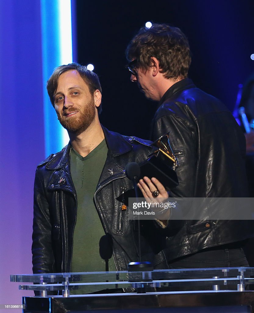 Musicians <a gi-track='captionPersonalityLinkClicked' href=/galleries/search?phrase=Dan+Auerbach&family=editorial&specificpeople=2233949 ng-click='$event.stopPropagation()'>Dan Auerbach</a> and <a gi-track='captionPersonalityLinkClicked' href=/galleries/search?phrase=Patrick+Carney&family=editorial&specificpeople=2234034 ng-click='$event.stopPropagation()'>Patrick Carney</a> of The Black Keyso nstage during the 55th Annual GRAMMY Awards Pre-Telecast at Nokia Theatre L.A. Live on February 10, 2013 in Los Angeles, California.