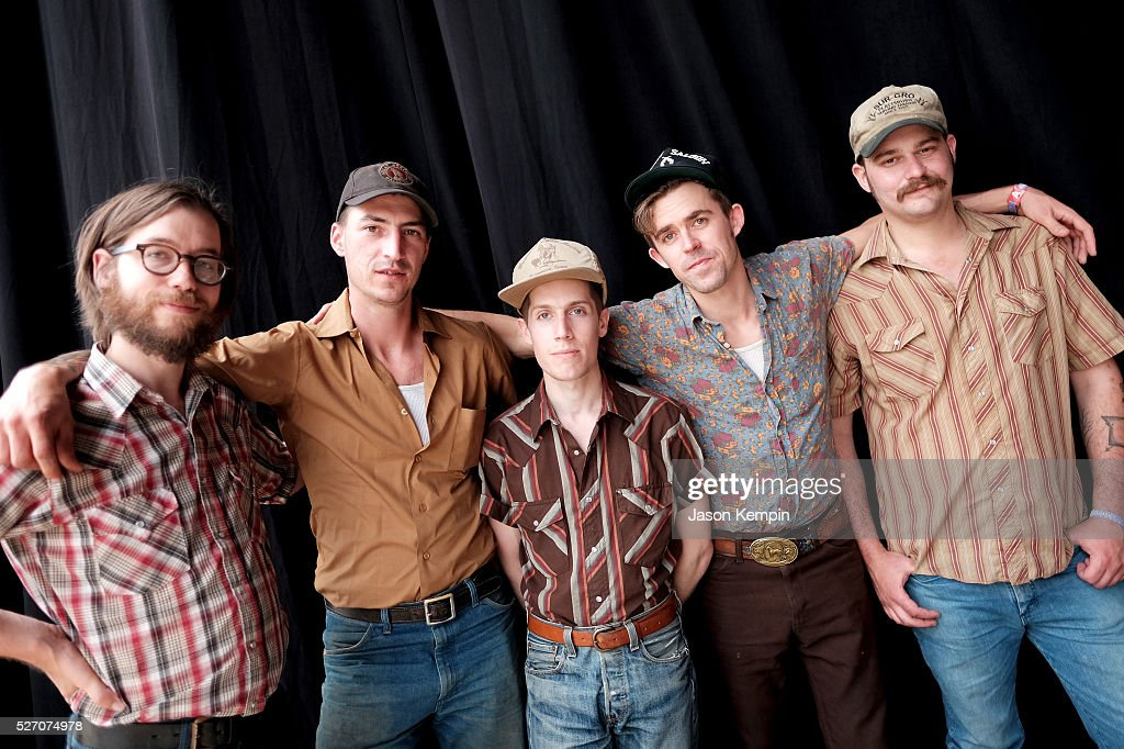Musicians Dan Cutler, John James Tourville, Cameron Snyder, Sam Doores and Riley Downing of The Deslondes pose backstage during 2016 Stagecoach California's Country Music Festival at Empire Polo Club on May 01, 2016 in Indio, California.