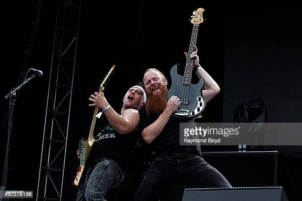 Musicians Dan Jacobs and Marc McKnight from Atreyu performs during the 'Louder Than Life' festival at Champions Park on October 3 2015 in Louisville...