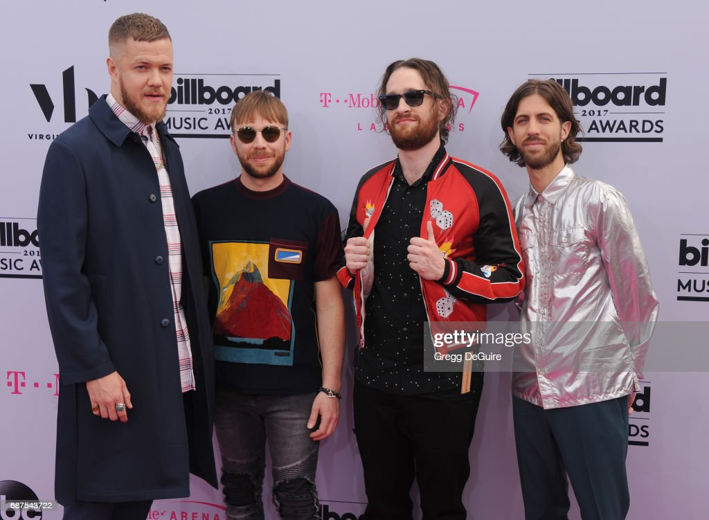 Musicians Dan Reynolds, Ben McKee, Daniel Platzman, and Wayne Sermon of Imagine Dragons arrive at the 2017 Billboard Music Awards at T-Mobile Arena on May 21, 2017 in Las Vegas, Nevada.