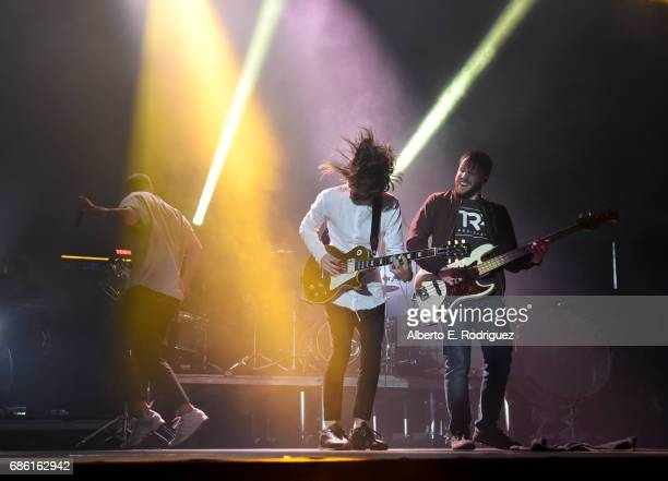 Musicians Dan Reynolds Daniel Wayne Sermon and Ben McKee of Imagine Dragons perform onstage at KROQ Weenie Roast y Fiesta 2017 at StubHub Center on...