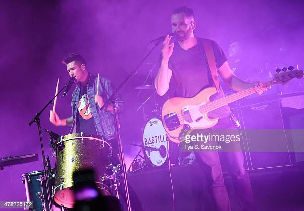 Musicians Dan Smith and Will Farquarson of Bastille perform onstage at the MercedesBenz 2015 Evolution Tour kickoff on June 24 2015 in New York City