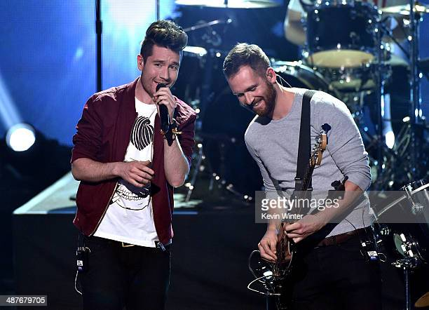 Musicians Dan Smith and Will Farquarson of Bastille perform onstage during the 2014 iHeartRadio Music Awards held at The Shrine Auditorium on May 1...