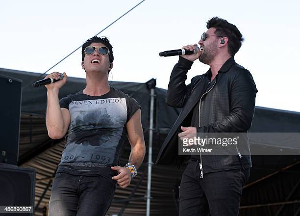Musicians Dan Smyers and Shay Mooney of Dan Shay perform onstage during day 2 of 2014 Stagecoach California's Country Music Festival at the Empire...
