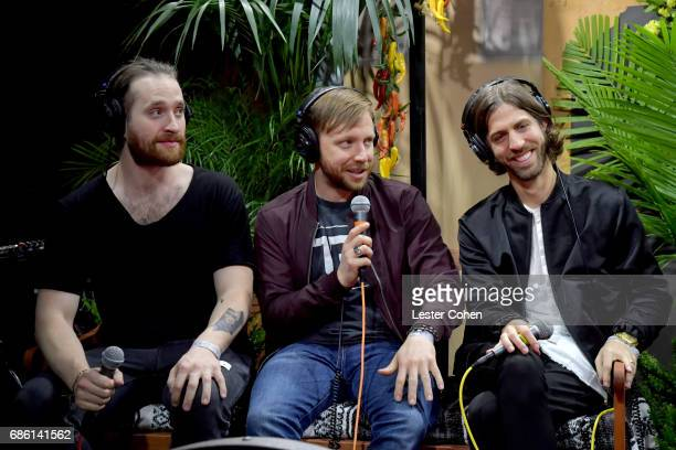 Musicians Daniel Platzman Ben McKee and Daniel Wayne Sermon of Imagine Dragons speak at KROQ Weenie Roast y Fiesta 2017 at StubHub Center on May 20...