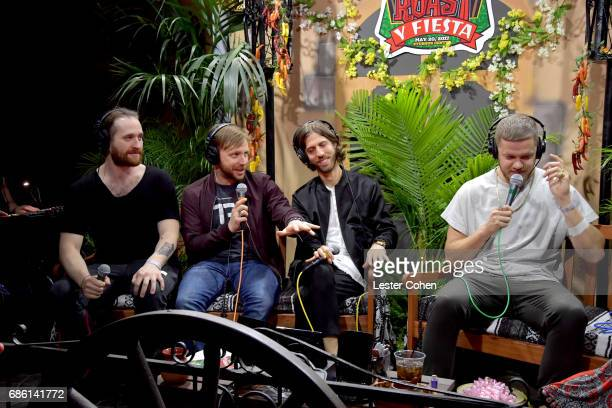 Musicians Daniel Platzman Ben McKee Daniel Wayne Sermon and Dan Reynolds of Imagine Dragons speak at KROQ Weenie Roast y Fiesta 2017 at StubHub...