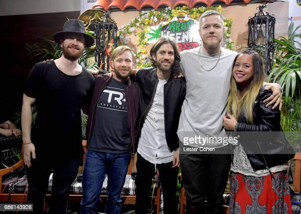Musicians Daniel Platzman Ben McKee Daniel Wayne Sermon Dan Reynolds of Imagine Dragons and radio personality Nicole Aalvarez attend KROQ Weenie...
