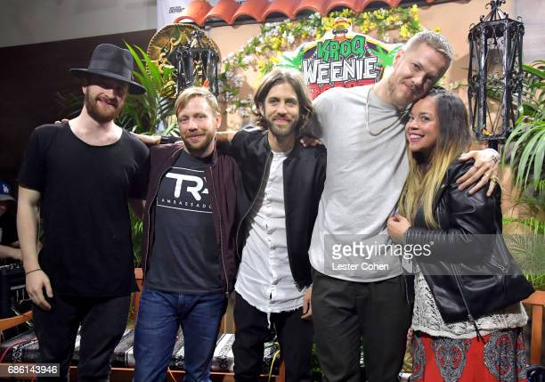 Musicians Daniel Platzman Ben McKee Daniel Wayne Sermon Dan Reynolds of Imagine Dragons and radio personality Nicole Aalvarez speak at KROQ Weenie...