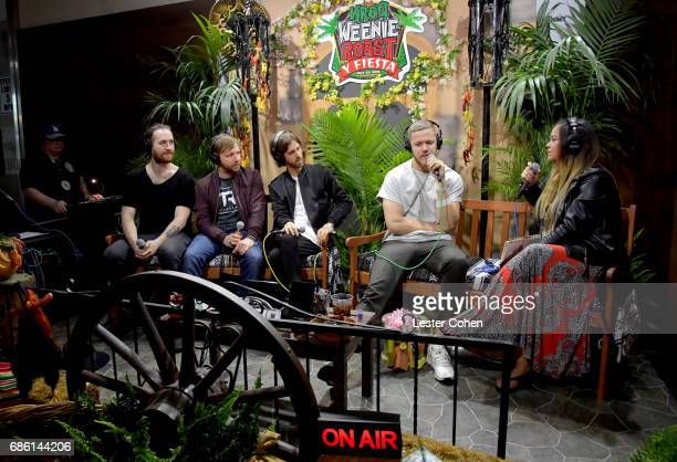 Musicians Daniel Platzman Ben McKee Daniel Wayne Sermon Dan Reynolds of Imagine Dragons and radio personality Nicole Alvarez speak at KROQ Weenie...