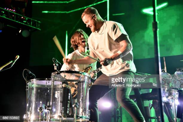 Musicians Daniel Wayne Sermon and Dan Reynolds of Imagine Dragons perform at KROQ Weenie Roast y Fiesta 2017 at StubHub Center on May 20 2017 in...