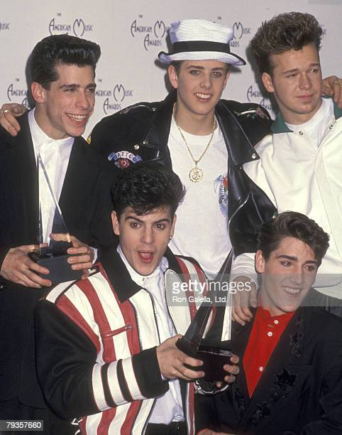 Musicians Danny Wood Joey McIntyre Donnie Wahlberg Jordan Knight and Jonathan Knight attend the 17th Annual American Music Awards on January 22 1990...