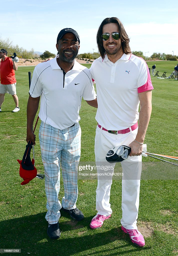 Musicians Darius Rucker (L) and Jake Owen attend the ACM Lifting Lives Celebrity Golf Classic during the 48th Annual Academy of Country Music Awards at TPC Summerlin on April 6, 2013 in Las Vegas, Nevada.