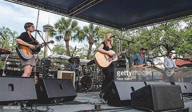 Musicians Dave Colvin Erika Wennerstrom Jesse Ebaugh and Mark Nathan of Heartless Bastards perform onstage during the Maverick Music Festival at...