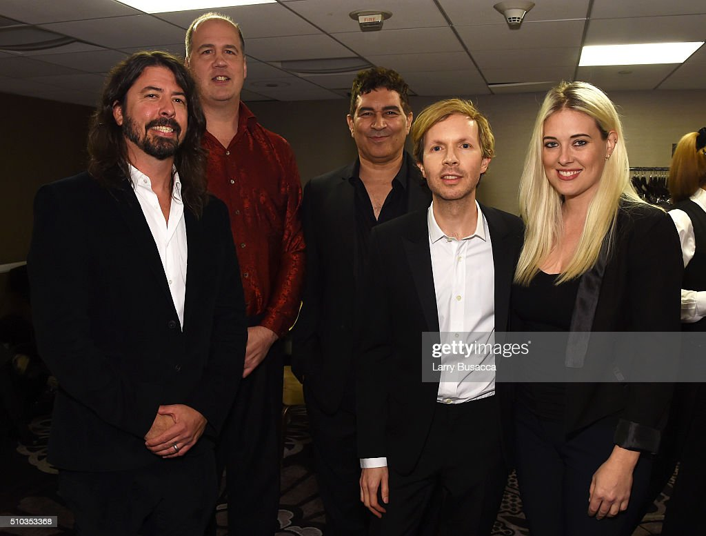 Musicians Dave Grohl, Krist Novoselic, Pat Smear, Beck and guest attend the 2016 Pre-GRAMMY Gala and Salute to Industry Icons honoring Irving Azoff at The Beverly Hilton Hotel on February 14, 2016 in Beverly Hills, California.