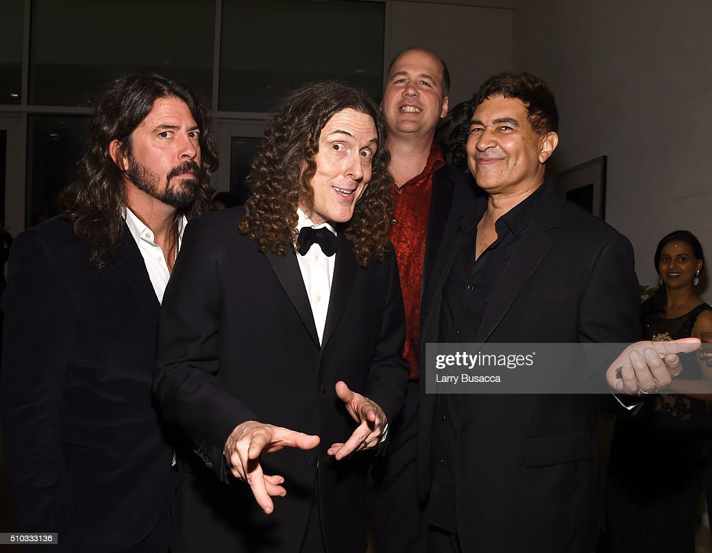 Musicians Dave Grohl, 'Weird Al' Yankovic, Krist Novoselic, and Pat Smear attend the 2016 Pre-GRAMMY Gala and Salute to Industry Icons honoring Irving Azoff at The Beverly Hilton Hotel on February 14, 2016 in Beverly Hills, California.