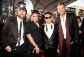 Musicians Dave Haywood and Hillary Scott of Lady Antebellum singer PSY and musician Charles Kelley of Lady Antebellum attend the 40th American Music...