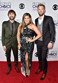 Musicians Dave Haywood Hilary Scott and Charles Kelley of Lady Antebellum attend The 41st Annual People's Choice Awards at Nokia Theatre LA Live on...