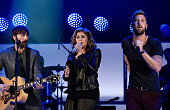 Musicians Dave Haywood Hillary Scott and Charles Kelley of Lady Antebellum perform onstage during CBS Radio's We Can Survive at the Hollywood Bowl on...