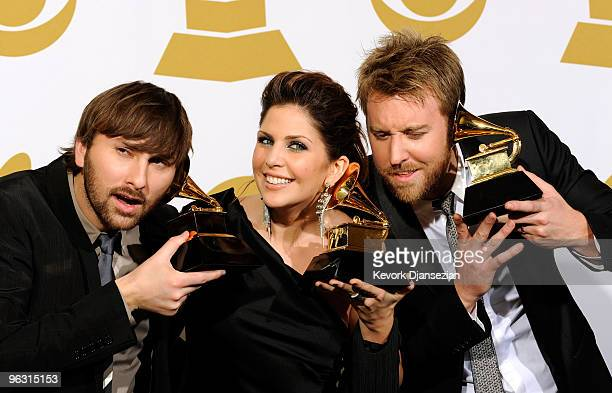Musicians Dave Haywood Hillary Scott and Charles Kelley of Lady Antebellum poses with Best Country Performance By A Duo Or Group With Vocals award in...