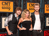 Musicians Dave Haywood Hillary Scott and Charles Kelley of Lady Antebellum attend the 2009 CMT Music Awards at the Sommet Center on June 16 2009 in...