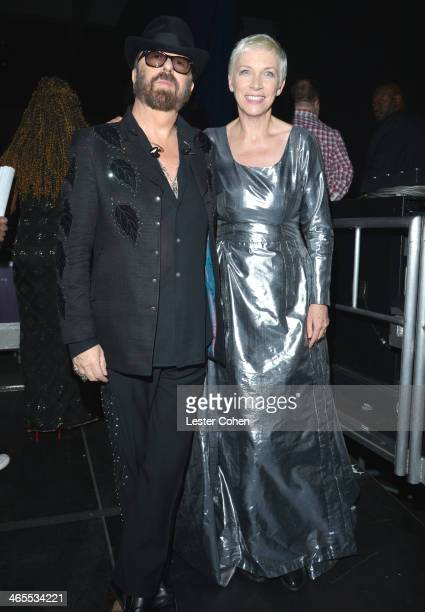 Musicians Dave Stewart and Annie Lennox of Eurythmics attend 'The Night That Changed America A GRAMMY Salute To The Beatles' at the Los Angeles...