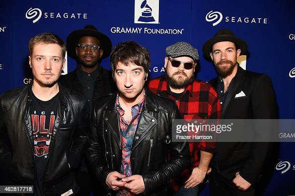 Musicians Dave Tirio De Mar Hamilton Tom Higgenson Mike Retondo and Tim Lopez of musical group Plain White T's at the GRAMMY Foundation's 17th annual...