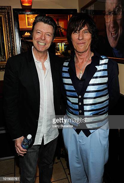 Musicians David Bowie and Jeff Beck attend Les Paul's 95th Birthday with Special Intimate Performance at Iridium Jazz Club on June 8 2010 in New York...