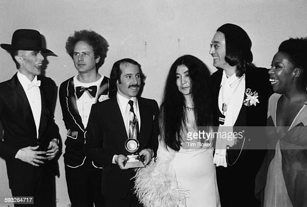 Musicians David Bowie Art Garfunkel Paul Simon Yoko Ono John Lennon and Roberta Flack attending the Grammy Awards at the Uris Theater New York March...