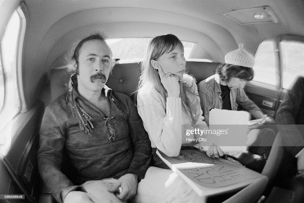 Musicians David Crosby (left), Joni Mitchell and Graham Nash travel to Big Bear Lake.