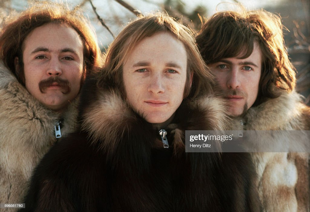 Musicians (from left) David Crosby, Stephen Stills, and Graham Nash wearing fur parkas. The group Crosby, Stills, and Nash were formed in the late sixties from members of The Hollies, The Byrds, and Buffalo Springfield. CSN collaborated with Neil Young occasionally, and racked up many hits in the sixties and seventies.
