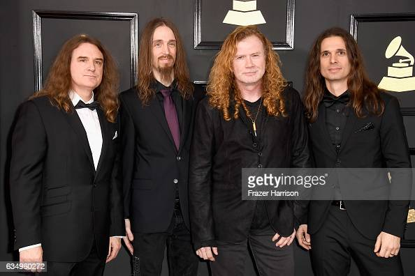 Musicians David Ellefson Dirk Verbeuren Dave Mustaine and Kiko Loureiro of musical group Megadeth attend The 59th GRAMMY Awards at STAPLES Center on...