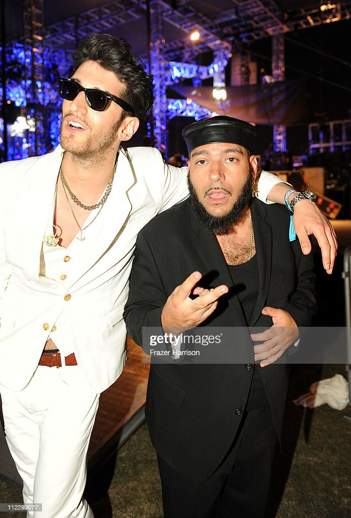 Musicians David Macklovitch (L) and Patrick Gemayel of the band Chromeo pose backstage during Day 3 of the Coachella Valley Music & Arts Festival 2011 held at the Empire Polo Club on April 17, 2011 in Indio, California.