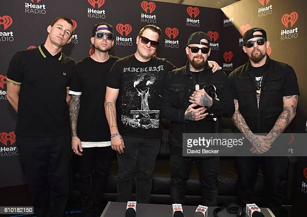 Musicians Dean Butterworth Billy Martin Paul Thomas Benji Madden and Joel Madden of Good Charlotte attend the 2016 Daytime Village at the iHeartRadio...