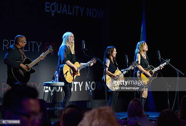 Musicians Debbi Peterson Susanna Hoffs and Vicki Peterson of The Bangles perform onstage during Equality Now's third annual 'Make Equality Reality'...