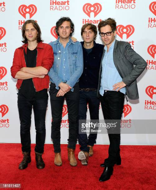 Musicians Deck dArcy Christian Mazzalai Thomas Mars and Laurent Brancowitz and of Phoenix attend the iHeartRadio Music Festival at the MGM Grand...