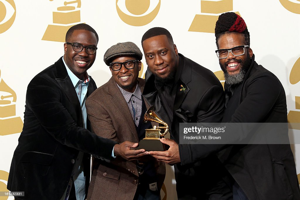 Musicians Derrick Hodge, Chris Dave, <a gi-track='captionPersonalityLinkClicked' href=/galleries/search?phrase=Robert+Glasper&family=editorial&specificpeople=829304 ng-click='$event.stopPropagation()'>Robert Glasper</a> and Casey Bengamin, winners of Best R&B Album for 'Black Radio', poses in the press room at the 55th Annual GRAMMY Awards at Staples Center on February 10, 2013 in Los Angeles, California.