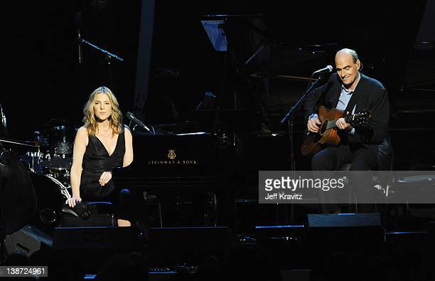 Musicians Diana Krall and James Taylor perform onstage during the 22nd Annual MusiCares Benefit Gala honoring Sir Paul McCartney held at Los Angeles...