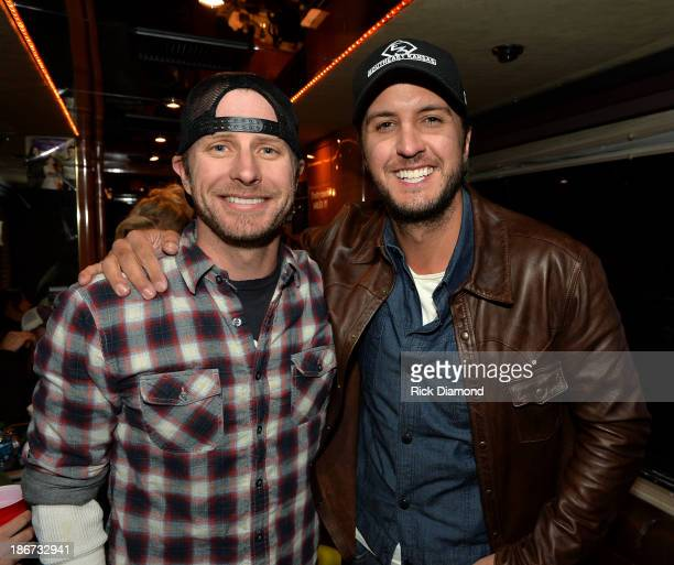 Musicians Dierks Bentley and Luke Bryan attend Dierks Bentley's 8th annual Miles Music for Kids at Riverfront Park on November 3 2013 in Nashville...