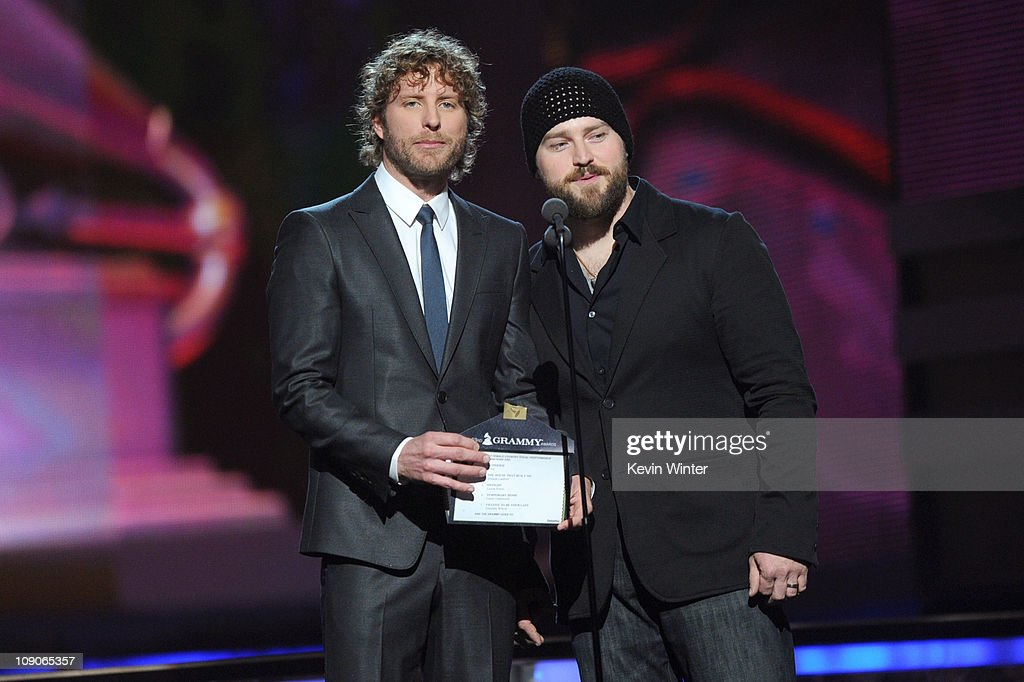 Musicians <a gi-track='captionPersonalityLinkClicked' href=/galleries/search?phrase=Dierks+Bentley&family=editorial&specificpeople=243007 ng-click='$event.stopPropagation()'>Dierks Bentley</a> (L) and Zack Brown speak onstage during The 53rd Annual GRAMMY Awards held at Staples Center on February 13, 2011 in Los Angeles, California.
