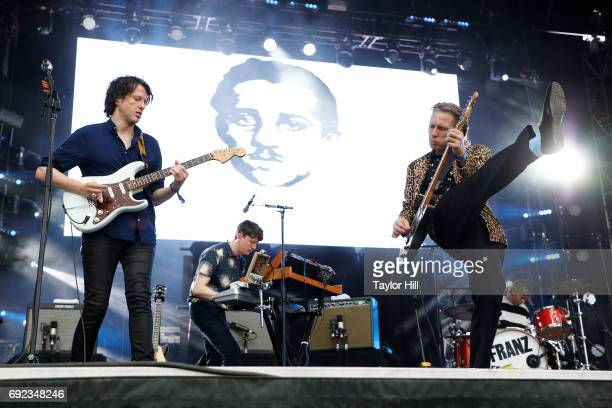 Musicians Dino Bardot Miaoux Miaoux Alex Kapranos and Paul Thomson of Franz Ferdinand Franz Ferdinand performs live onstage during 2017 Governors...