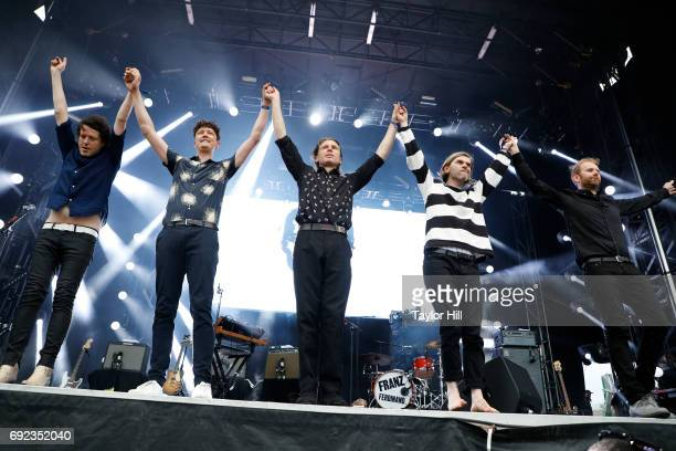 Musicians Dino Bardot Miaoux Miaoux Alex Kapranos Paul Thomson and Bob Hardy of Franz Ferdinand perform live onstage during 2017 Governors Ball Music...