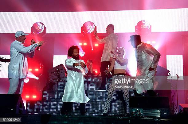 Musicians Diplo of Major Lazer Jillionaire of Major Lazer special guest DJ Snake special guest MØ and Walshy Fire of Major Lazer perform onstage...