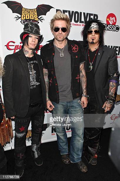 Musicians DJ Ashba James Michael and Nikki Sixx arrive at the 3rd Annual Revolver Golden God Awards at Club Nokia on April 20 2011 in Los Angeles...